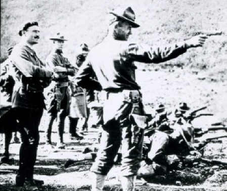 US_Army_officer_training_with_1911_pistol_in_France_circa_1918