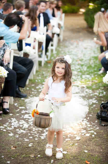Rose petals flower girl aisle wedding